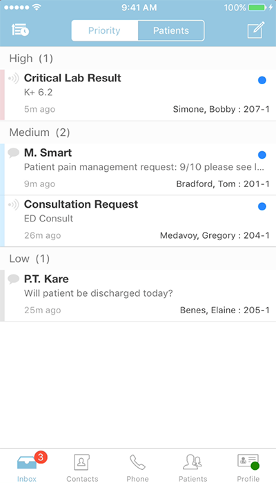 PatientTouch - Inbox Screenshot
