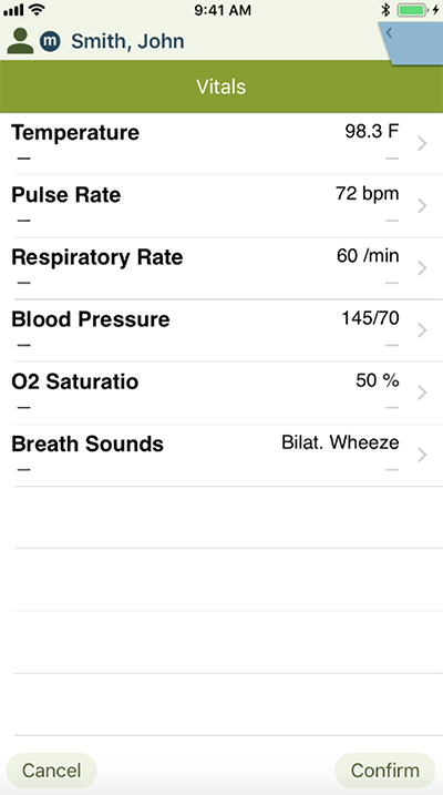 Vitals Confirmation Screen